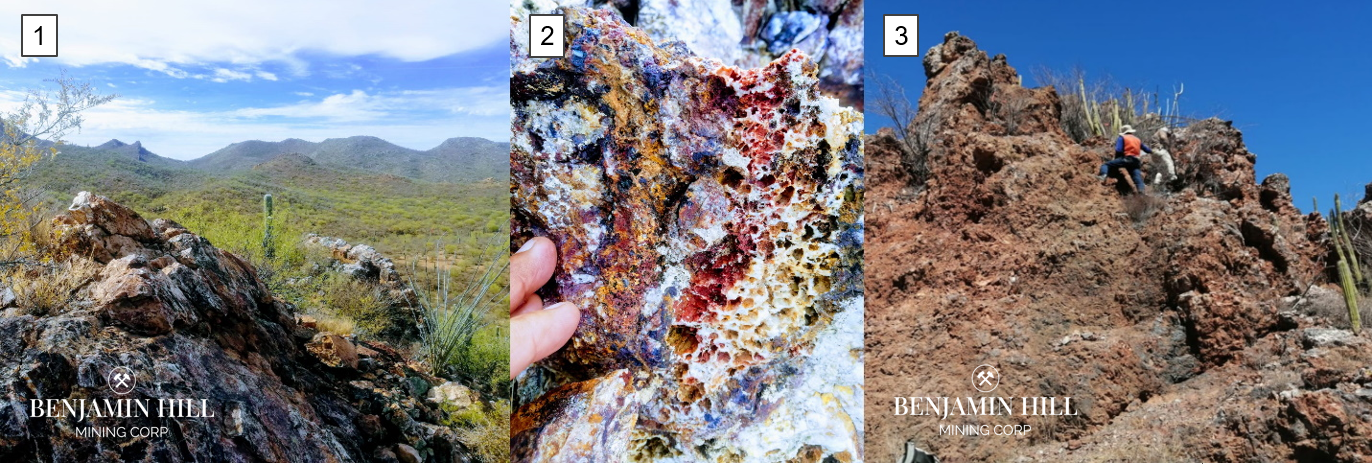 Image 1: 1. Looking south from Corralito structure, Caracahui area. Values as high as 8.5 g/t Au, over 200 g/t Ag, and 2.4% Cu. 2. Detail of Caracahui Mineralized structure with high grade Au content (8.4 g/t). 3. BNN geologists sampling a mineralized outcrop.
