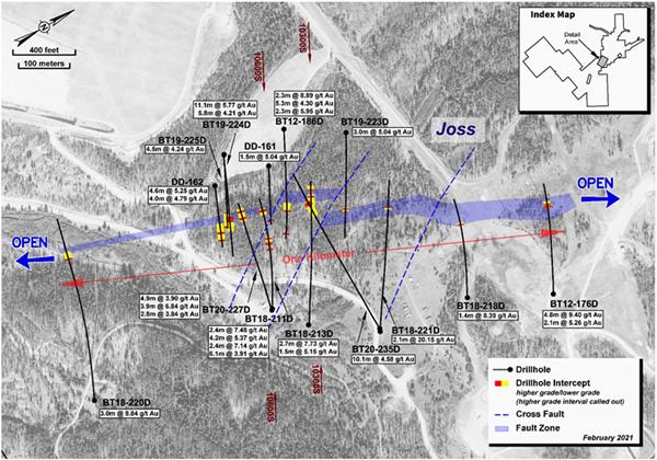Figure 1: Plan View of the High-Grade Underground Target at Beartrack-Arnett