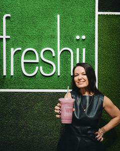 Julie Smolyansky with Kefir Smoothie from Freshii