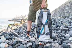 Pictured alongside the limited-edition release of HI-TEC®'s iconic Sierra Re:Flex trail shoe is The Duffel, one of four bags featured in the collection.