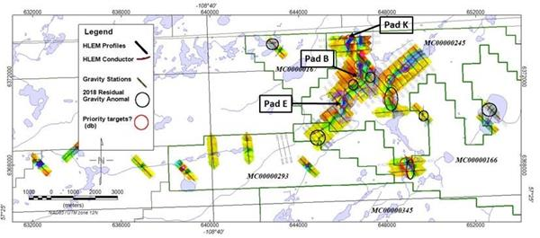 Figure 1 East Preston uranium project, initial drill pad locations