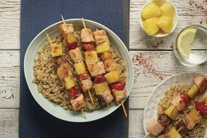 Hearty Salmon Skewers over Brown Rice