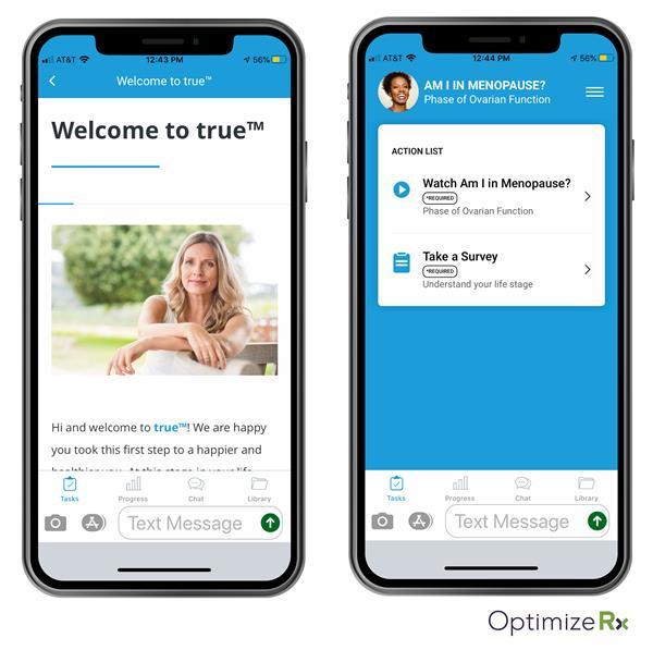 True Women's Health App powered by OptimizeRx's RMDY digital health tools.
