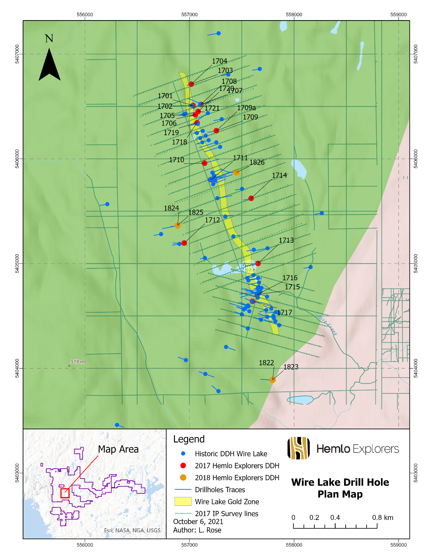 Figure #2 – Wire Lake Project Drill Hole Collar Plan Map with 2017 IP Grid