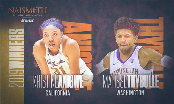 2019 Naismith Defensive Player of the Year Award presented by Bona for men's and women's basketball, Kristine Anigwe from California (left) and Matisse Thybulle from Washington (right)