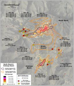 Figure 1: Plan map of North Stock and Antelope Basin 2017 drill results and historic drill highlights