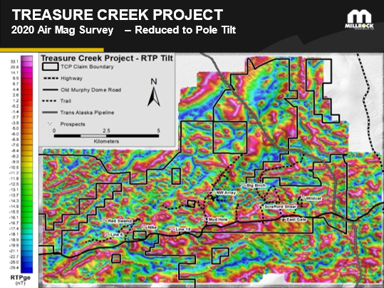 Figure 3: Airborne magnetic map from recently completed survey. The magnetic map indicates areas of intrusive rocks and structures that assist in tracing gold mineralization. Historic prospect locations are shown.