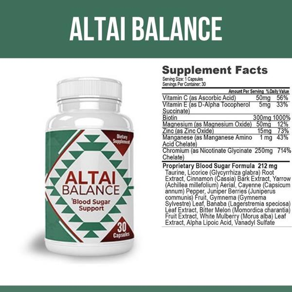 Altai Balance has proprieties that manage blood sugar levels because it contains ingredients such as Vanadyl Sulfate, Bitter Melon, Banaba Leaf Extract, Gymnema Leaf, and much more.