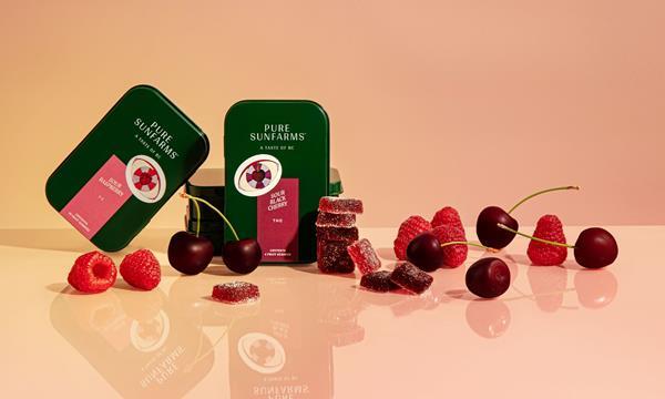 Sour Black Cherry THC and Sour Raspberry 1:1 gummies