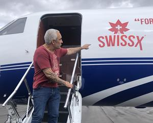 Alki David and the Swissx Express Jet in San Juan Puerto Rico on May 22, 2019.