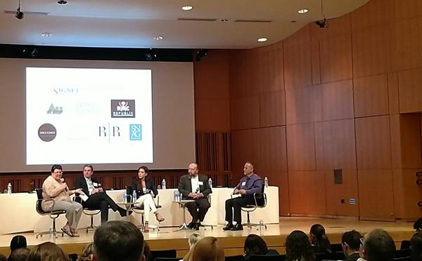 Panel: (left to right) Andrea Hill, founder/CEO Hill Mgt. Group; Linus Drogs, owner/pres. AU Enterprises; Lindsey Rubin, corp. secretary, Republic Metals Corporation; Stewart Grice, VP mill products, Hoover & Strong; and Ted Doudak, founder/CEO, Riva Precision Mfg.