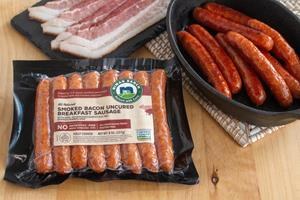 Finally, breakfast meat fans can have it all in one package with new Applewood Smoked Bacon Breakfast Sausage from Niman Ranch.