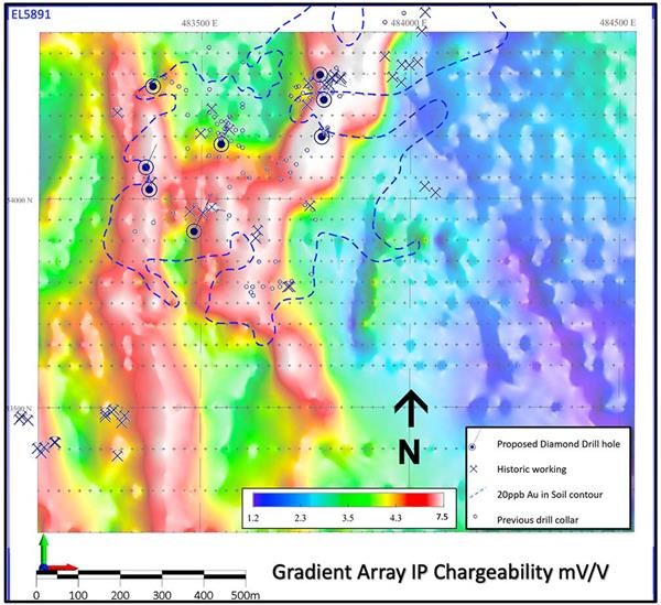 Fig-2–Gradient-Array-IP-Chargeability-with-gold-in-soil-contour-and-8-proposed-drill-hole-locations