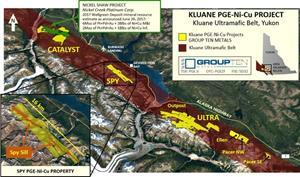 Figure 1 – Group Ten's Kluane PGE-Ni-Cu Project in the Kluane Ultramafic Belt