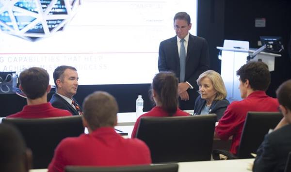 Dave Wajsgras, President of Raytheon Intelligence, Information and Services at Raytheon, facilitates a discussion with Governor Northam, Delegate Murphy, and the University of Virginia winning team on the path forward to bolster cybersecurity in Virginia.