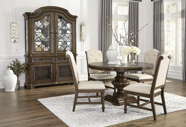 Merris 5-piece dining set shown with round table option.