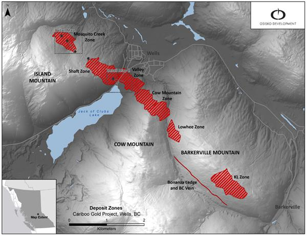 Figure 1: Cariboo deposit areas with drill locations