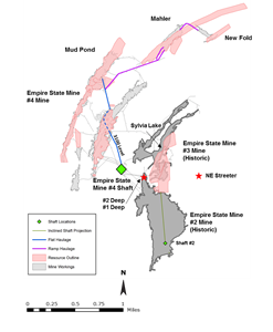 Figure 1. Newly Identified Near-Mine Mineralized Zones - #2 Deep, NE Streeter and #1 Deep