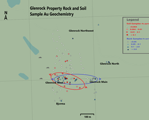 Glenrock Property Rock and Soil Sample Au Geochemistry