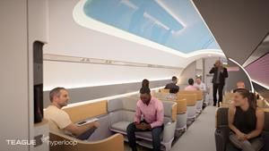 Inside the Virgin Hyperloop pod. Design by TEAGUE and animation by SeeThree.