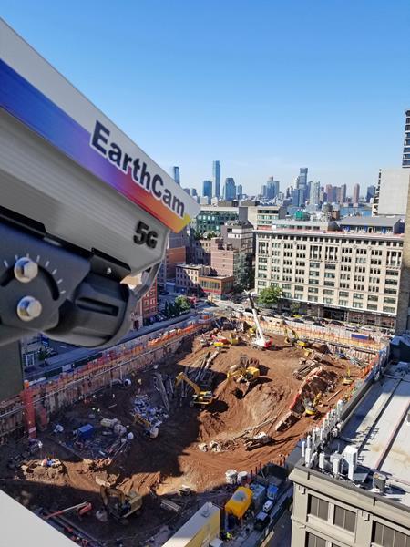 The world's first 5G construction camera – EarthCam's StreamCam 5G - on a Lower Manhattan Jobsite