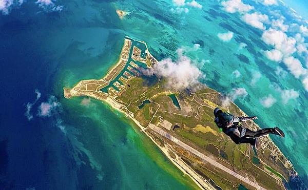Skydivers over West End, Grand Bahama Island, Bahamas  (Image courtesy of Jeff Root).