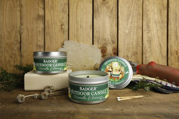 Food-grade organic oils and waxes used to flush production lines at Badger manufacturing facility find new life as clean-burning, all natural outdoor citronella candles in reusable tins.