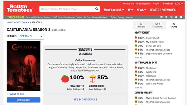Castlevania on Rotten Tomatoes