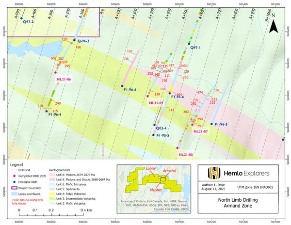 Figure #2 – Armand Lake Volcanic Complex Drillhole Plan Map