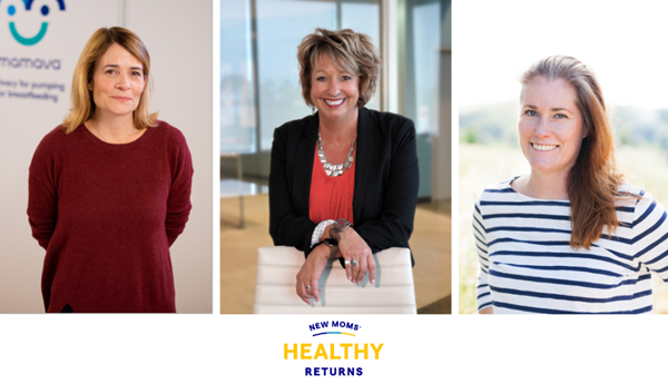 New Moms' Healthy Returns Leaders (from left to right) Sascha Mayer, CEO and co-founder of Mamava, Melissa Gonzales, RN, executive vice president for Medela Americas and Kate Torgersen, founder and CEO of Milk Stork.