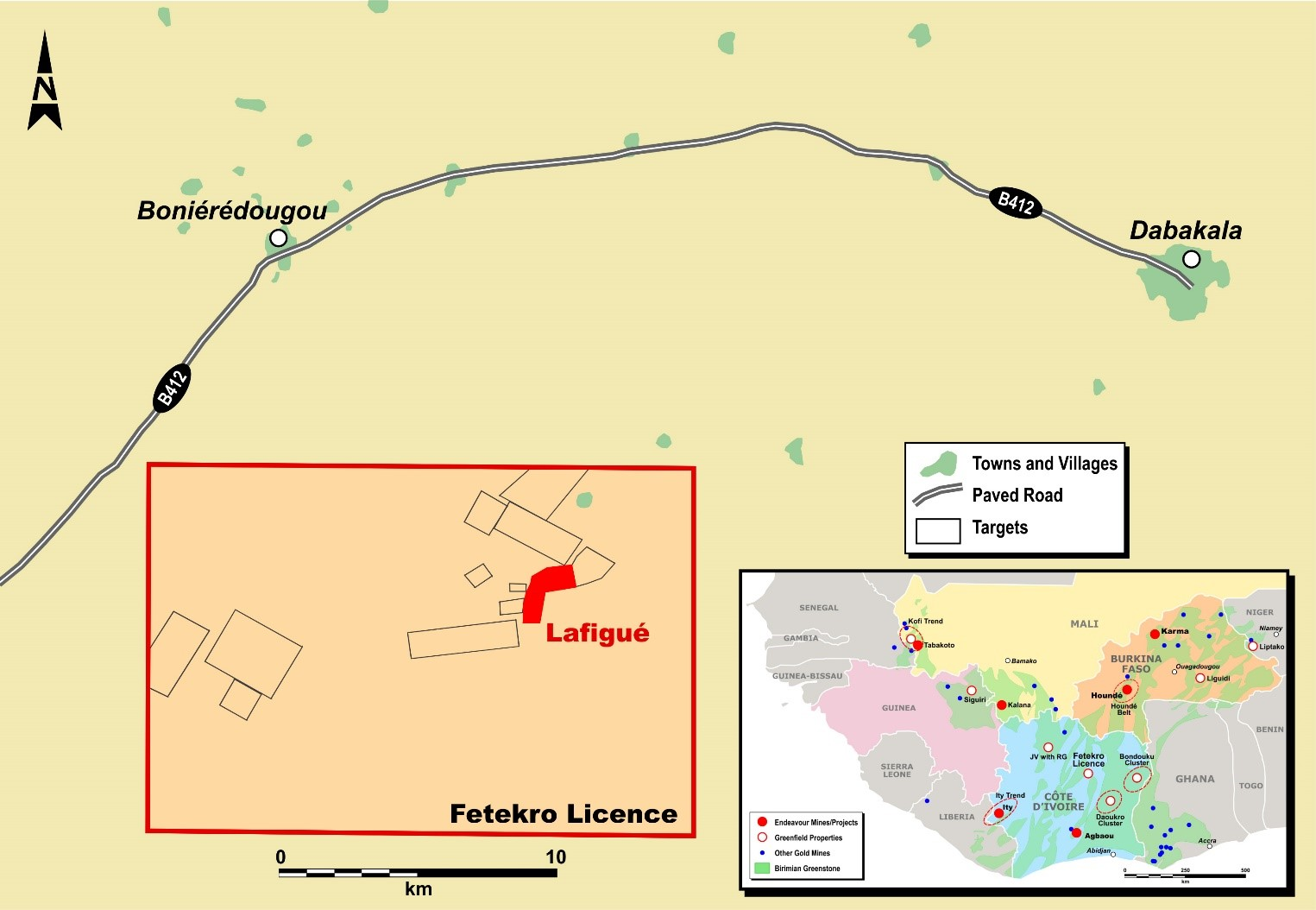 Endeavour Mining Corporation Announces Maiden Resource Process Flow Diagram Gold Figure 5 Fetekro In Soil Map And Selected Intercepts