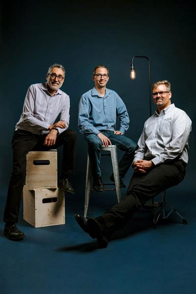 Plus One Robotic's founders (from left) CEO Erik Nieves, CTO Shaun Edwards and COO Paul Hvass.