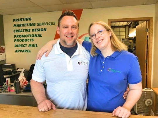 US Army Airborne Veteran James Lawrence and Katie Lawrence, owners, Minuteman Press franchise, Ham Lake, Minnesota.
