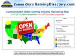 United States Gaming Industry Reopening Map as of June 17, 2020 by Casino City Press. Updated information is available at GamingDirectory.com/covid-19