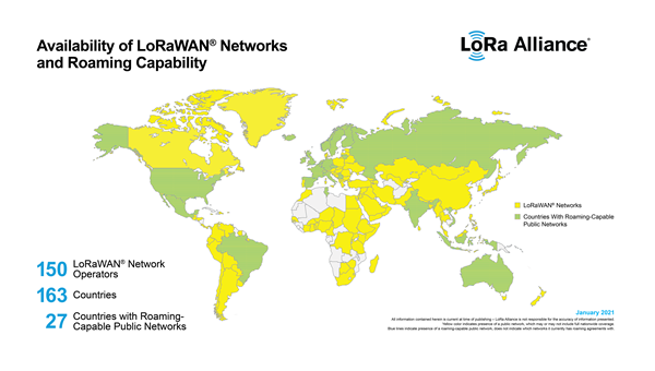Global LoRaWAN Coverage and Roaming Capability Map