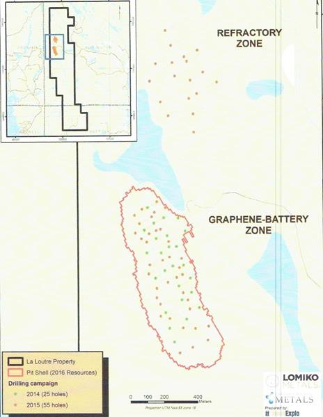 Graphene-Battery Resource Open Pit Shell and Current Drilling at Refractory Zone Target