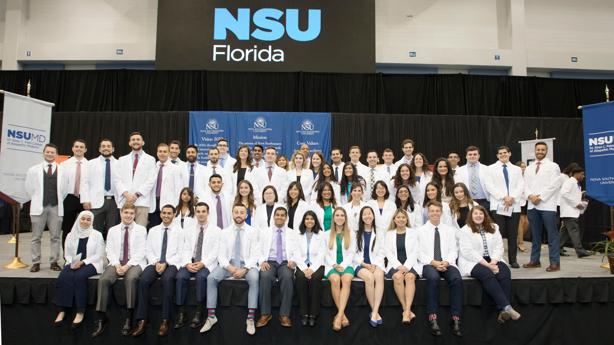 NSU Hosts White Coat Ceremony for First M D  Class and 38th Entering