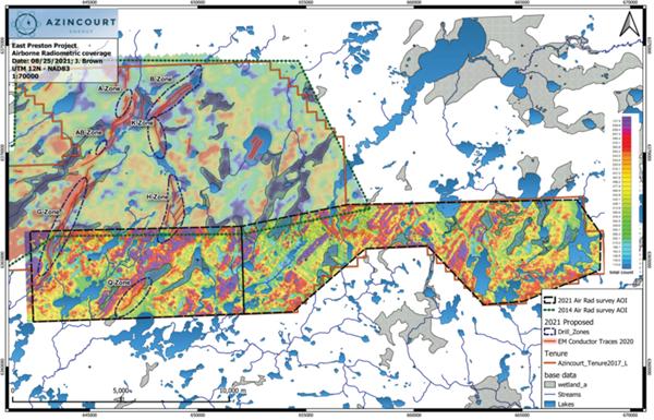 Figure 3: 2021 Radiometric survey coverage at East Preston Uranium Project
