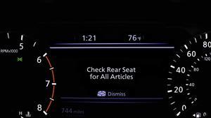 Notification display in Rear Door Alert (RDA) technology