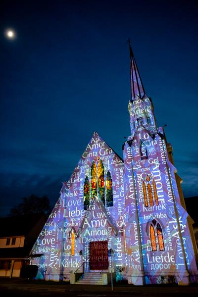 First Presbyterian Church at Napa Lighted Art Festival.