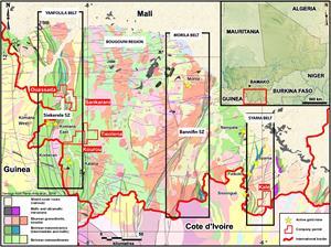 Map of Southern Mali Gold Belts