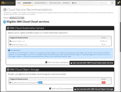 CAST Highlight's IBM Cloud Service Recommendations
