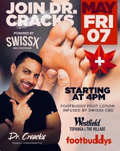 Dr. Cracks will kick off his $1 million foot rub contest with Swissx CBD lotion with Footbuddys and Westfield. Go to Swissx.com to order your lotion and upload you most creative video to the Dr. Cracks channel on SwissxTV.