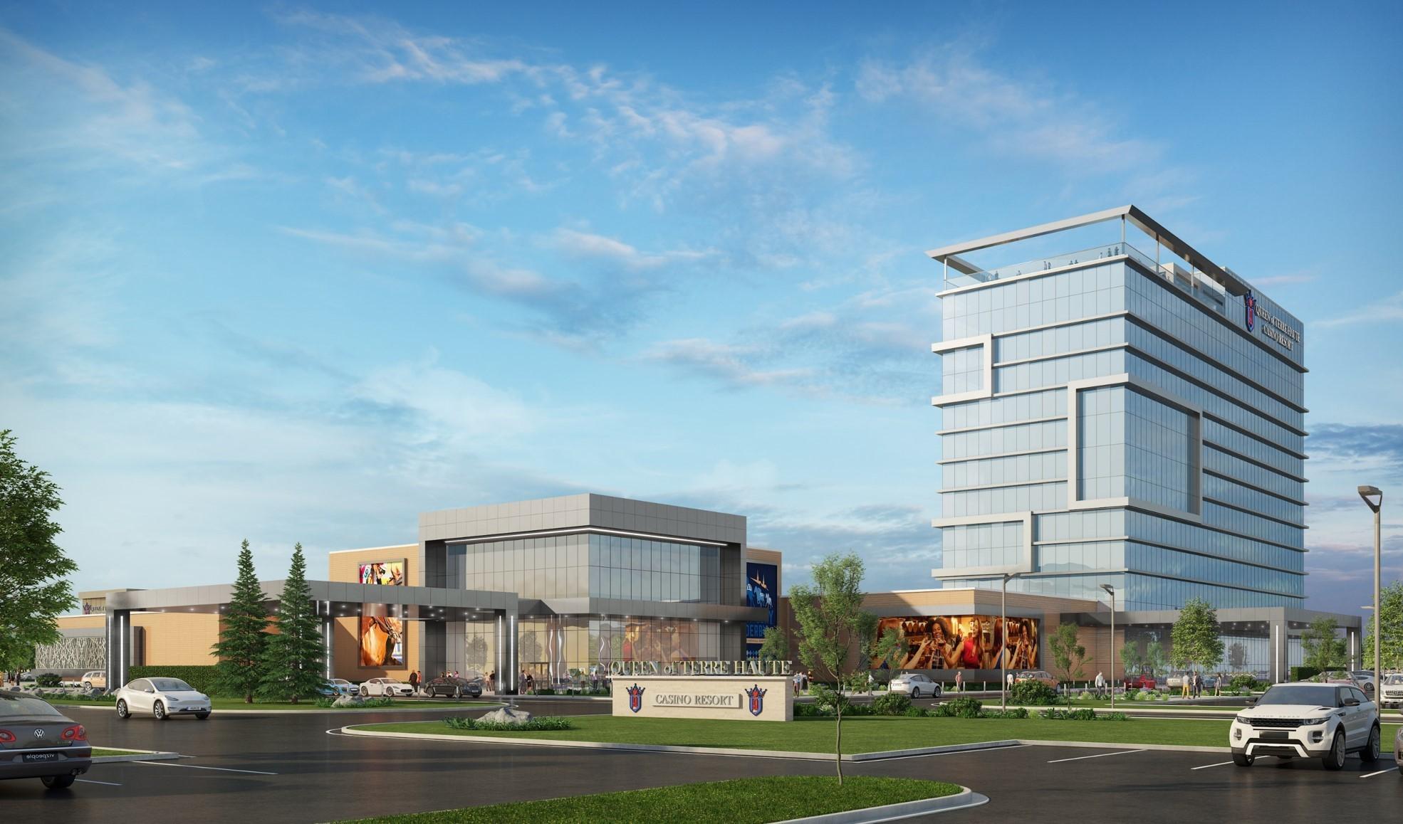 Exterior rendering of the Queen of Terre Haute Casino Resort.