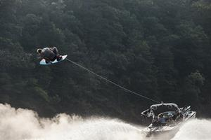 Steel Lafferty catching air behind the MasterCraft X-Star
