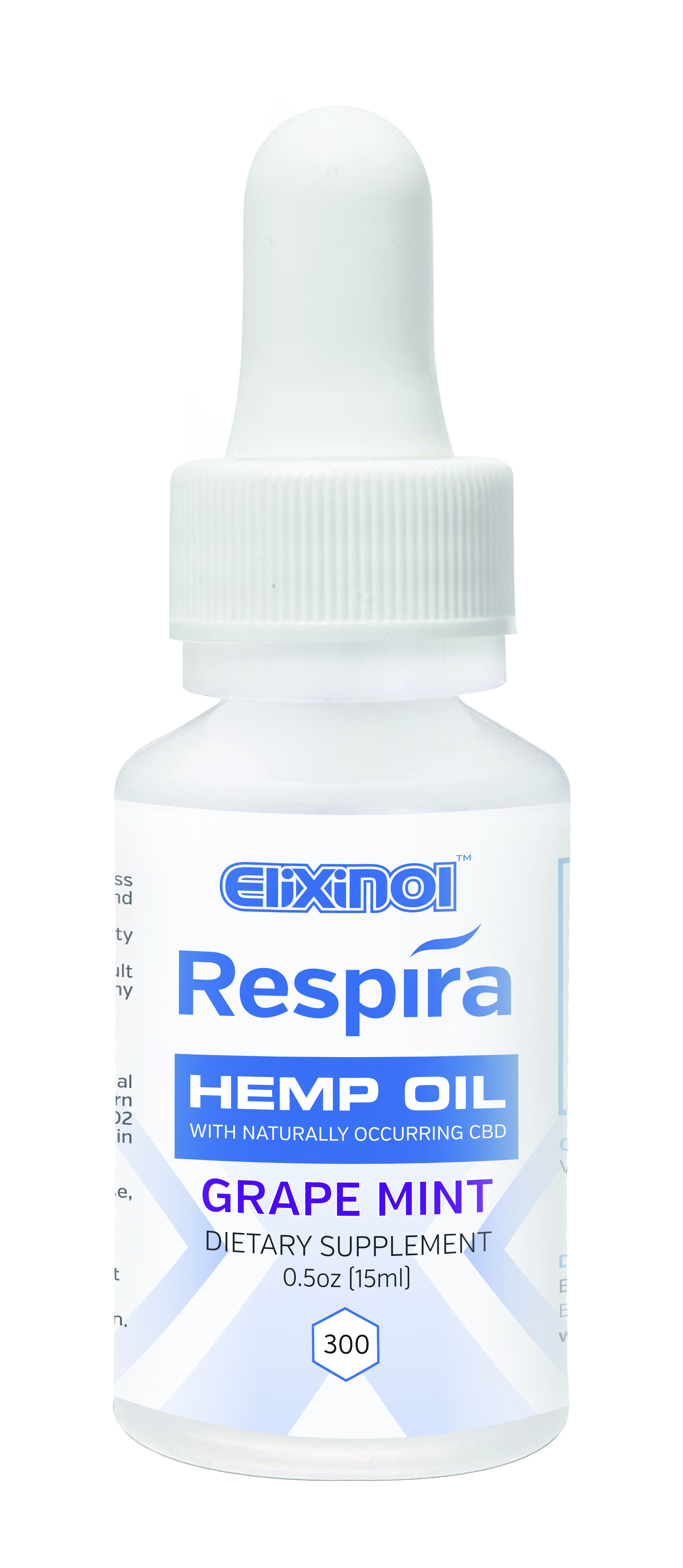 Respira CBD oil for oral, topical or vape use by Elixinol. 300mg, Grape Flavor.