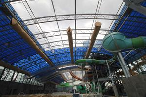 The OpenAire roof at Epic Waters opens for the first time.
