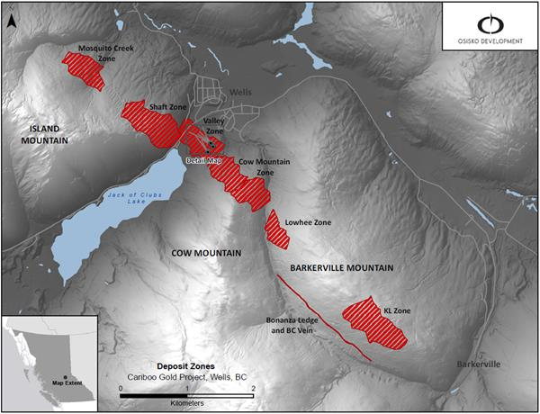 Figure 1: Cariboo deposit areas overview map