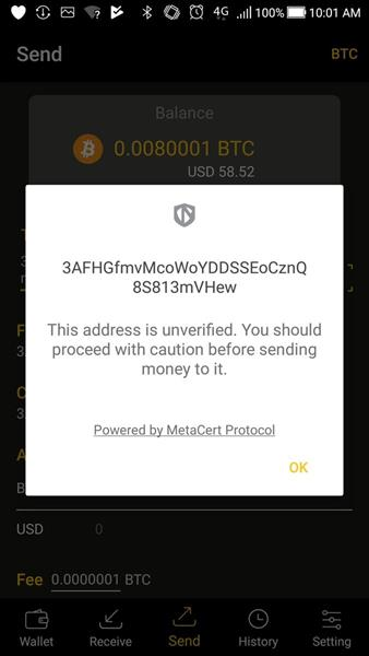 The MeteCerta Protocol in action on the CoolWallet S. MetaCert keeps users safe by deploying the world's largest registry of cybersecurity threats.