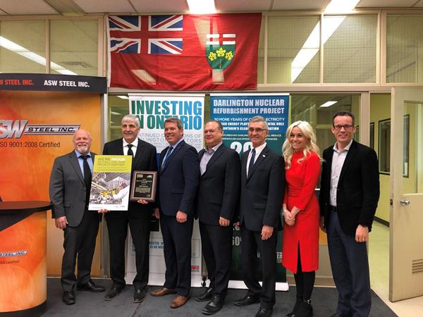 Group Photo (from left to right): Mayor Frank Campion, Tim Clutterbuck ASW Steel, MP Vance Badawey, MPP Jeff Burch, Ron Oberth OCNI, Taylor McKenna Bruce Power, Chris Fralick OPG